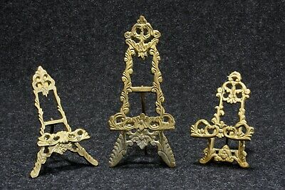 3 Vintage Art Easels Assorted Victorian Style Ornate Solid Brass Table Top