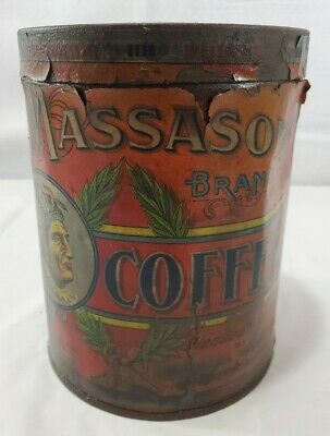 Vintage Advertisement Massasoit Coffee Tin Paper Label