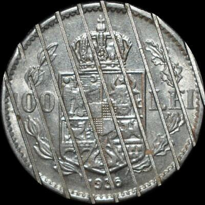 AU with Luster 1936 Romania Carol II 100 Lei Demonetized / Cancelled Coin
