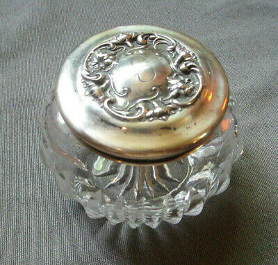 Art Nouveau Cut Glass Dresser Jar Sterling Top by R.Wallace and Sons