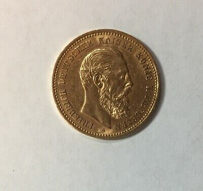 1888-A 10 Mark gold coin AU Prussia Germany
