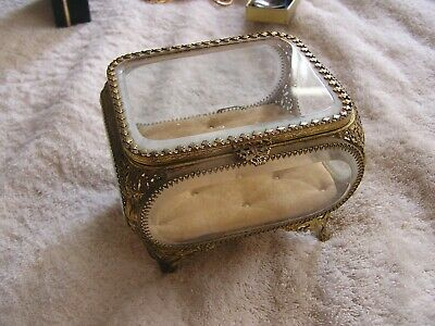 Vintage Antique  Ornate Beveled Glass  Jewelry Casket Box