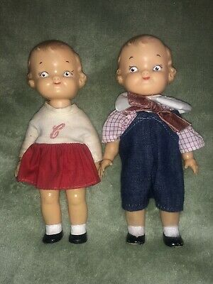 """2 Vtg RARE Campbell's SOUP KID DOLLs in ORIGINAL CLOTHING - Made by Ideal 8"""""""