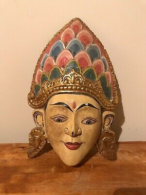 Antique Vintage Far East Thai Balinese Carved Wooden Woman Face Wall Mask