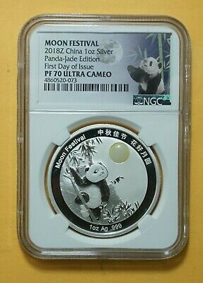2018 China 1-oz Silver Panda NGC MS70 Moon FESTIVAL Jade EDITION 1st DAY ISSUE