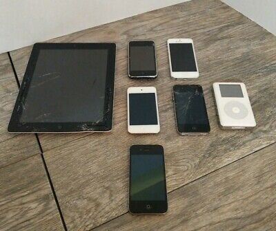 Lot of 7 AS-IS Untested Apple iPhones iPad Ipod for Parts/Repair Only LOT