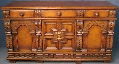 Period Style Carved Solid Oak Sideboard