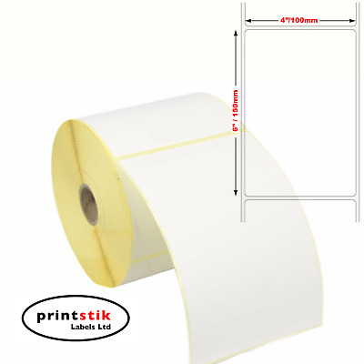 "Large Self Adhesive Sticky Labels 150mm x 100mm 6"" x 4"" Address Thermal White"