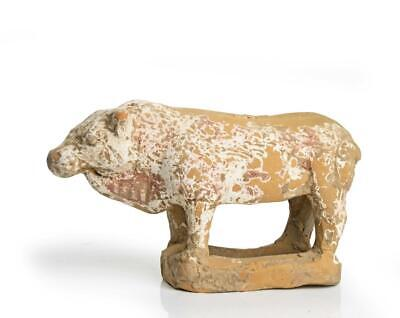 Chinese Tang dynasty painted terracotta bull: Circa 8th century AD.