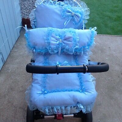 2pcblue  pram quilt cover and  Matching pillow slip Romany style