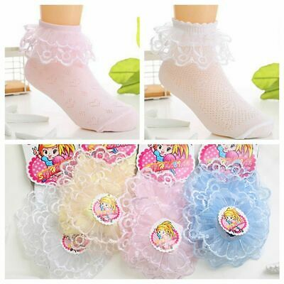 Summer Breathable Girls Kids Sweet Lace Ruffle Baby Ankle Socks Short Cotton
