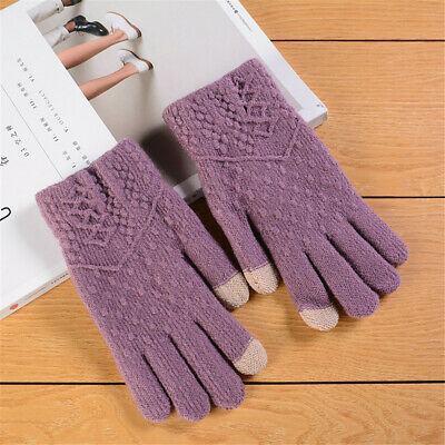 Keep Finger Warm Full Finger Touch Screen  Mittens Knitted Gloves Thicken Warm