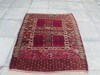 Fine Antique Traditional Hand Made Oriental Red Wool Rug 154x132cm