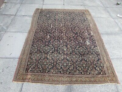 Fine Shabby Chic Worn Antique Hand Made Traditional Blue Wool Rug 195x144cm