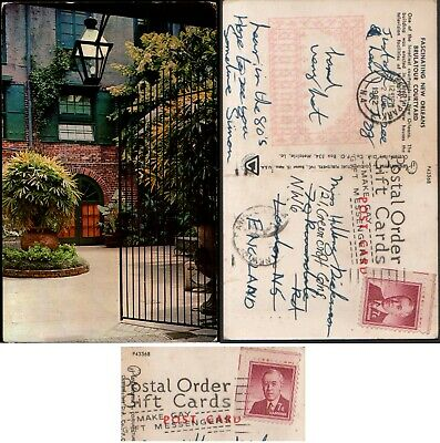 Postcard Brulatour Courtyard New Orleans. Slogan Postmark