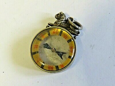antique silver mount compass fob with lion bail