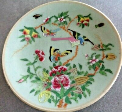 A Pair Of Antique Cantonese Chinese Plates Green Hand Painted