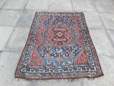 Antique Worn Traditional Hand Made Oriental Blue Wool  Small Rug 150x117cm
