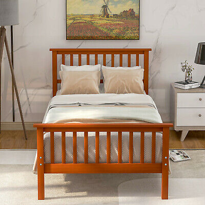 Solid Wood Bed Frame Twin With Slatted Headboard Footboard No Box Spring Need