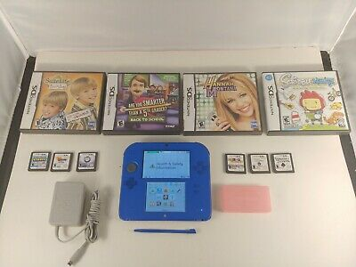 Blue Nintendo 2DS bundle with 10 games  and stylus 2GB Memory Card & Adapter