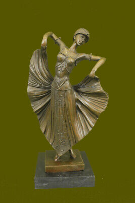 Butterfly Dancer Statue Bronze Marble Base By Chiparus Sign Figurine Decorative