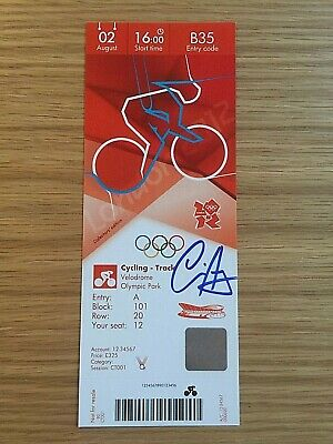 2012 London Olympic Personally Signed Ticket Olympic Gold Medal Winner Chris Hoy