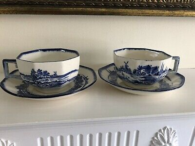 Pair of Royal Doulton Norfolk Pattern Octagonal Cups and Saucers RN251612