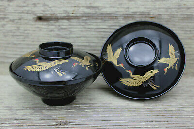 Vintage 2 Japanese Bowl Laquered Black Gold Birds Hand Painted Japan
