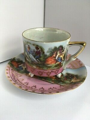 Lefton China TEA CUP and SAUCER Footed ROMANTIC SCENE Pink GOLD 3 Legs PEARLESCE