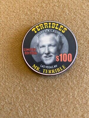 $100 Terrible's - Great Picture Chip! Hard To Find! Look! Top Condition! Mint!!