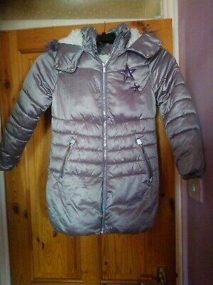 GIRLS NEXT LIGHT silver purple HOODED  QUILTED COAT JACKET KIDS AGE 9 YEARS