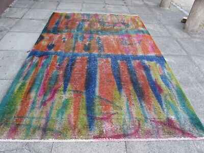 Vintage Hand Made Traditional Oriental Wool Over dyed Distress Carpet 298x200cm