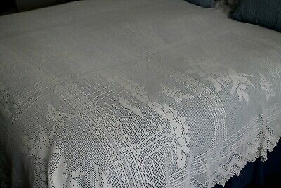antique hand crochet bedcover ? mary card design  £15 OFF PREVIOUS LISTING PRICE