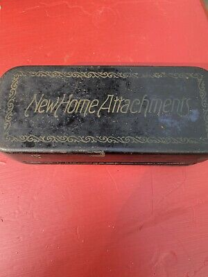 Vintage New Home Sewing Machine Metal/Tin Box w/parts & accessories