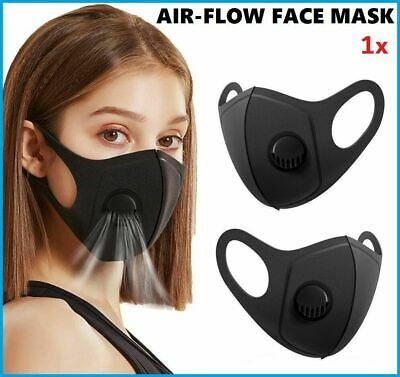 2 x Face Mask Breathable Washable 2.5M Filter Protective Mouth Protection Black