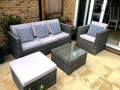 Rattan Garden Furniture Set Cushions included Sofa table Chair Patio RRP £1500