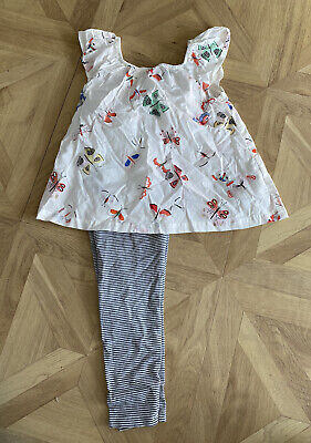 Girls Outfit Age 4-5 Top Leggings Striped Print Butterflies H&M Next Smock