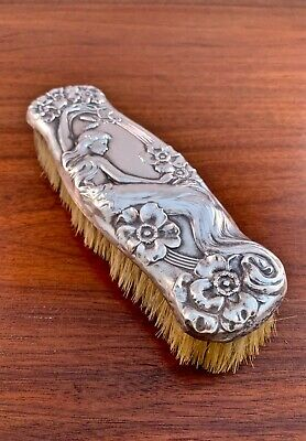 Unger Bros Sterling Silver Clothes Brush Art Nouveau W/ Poppy Flowers & Woman