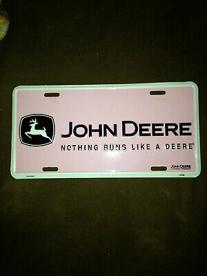 Nothing Runs Like A John Deere Pink White Metal License Plate Car Tag Tractor