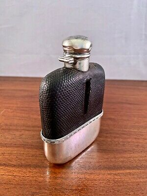 Alvin Co. Sterling Silver And Glass Hip Flask W/ Lizard Or Snake: No Monogram