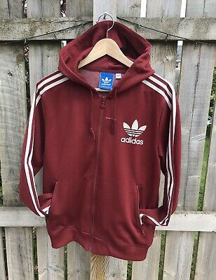 Adidas Originals Trefoil Mens Zip Hoodie Jacket - Size S - Red/Burgundy - Used