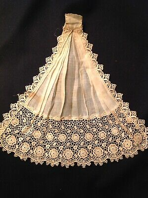 #5606🌟Antique c1800s Lace Collar Jabot Batiste Victorian OLD