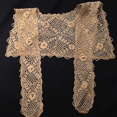 #5607🌟Antique c1800s Irish Crochet Lace Collar AGED VERY DARK