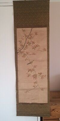 18th Century Antique Chinese Japanese Embroidery Silk Scroll Bird & Blossom