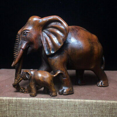 Collectable Handwork Boxwood Carving Elephant & Baby Elephant Exquisite Statue