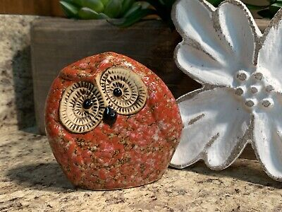 Mini Red Stone Look Wide Eye Owl Red Owl Barn Owl Garden Owl H10