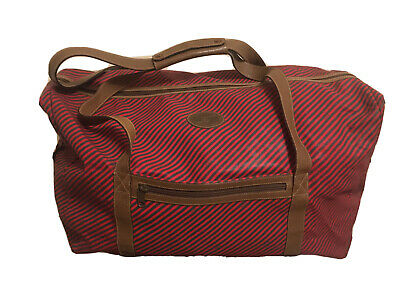 Rare GUCCI Duffel Travel Bag -Red & Camel Striped