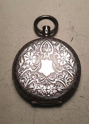Antique Swiss ladies sterling silver hunter pocket watch fully engraved case