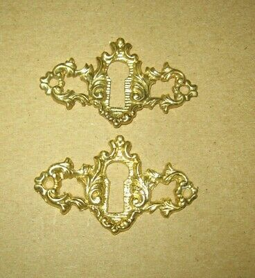 2 Victorian Style Brass Ornate Design Key Hole Escutcheon Covers~Stock Part r