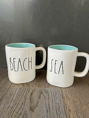 "Rae Dunn ""Beach"" ""Sea"" Mug Set Blue Inside HTF"